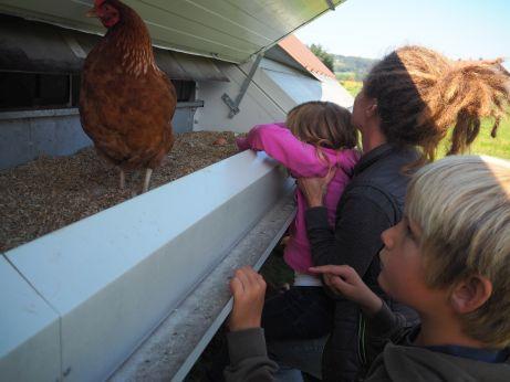 Kind und Huhn
