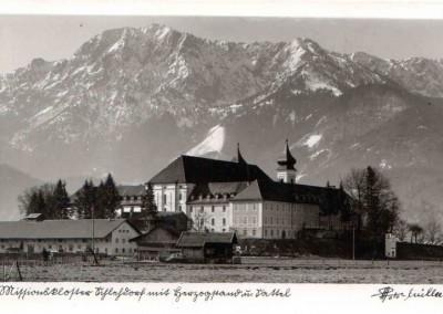 Alte Postkarte Blick auf das Kloster mit Herzogstand