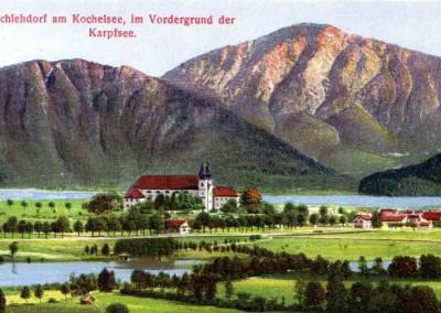 Kolorierte Postkarte mit großem Kochel- und Karpfsee