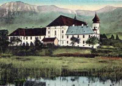 Kolorierte Postkarte mit den Seen hinter dem Kloster