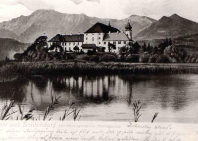 Postkarte Kloster mit altem See